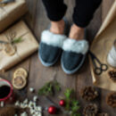 Grey Sheepskin Mules Slippers