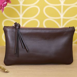Leather Purse With Contrasting Satin Lining