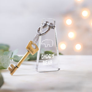 Personalised Acrylic Daddy Bear Keyring - father's day gifts