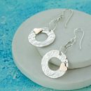 Beaten Silver Disc With Heart Earrings