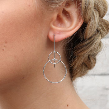 Sterling Silver Contemporary Hoop And Stick Earrings