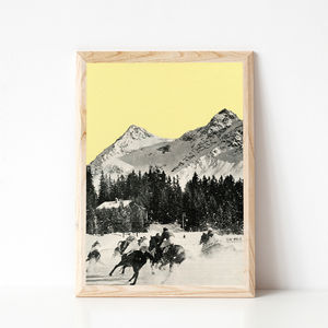 Winter Races Yellow Mountain Art Print