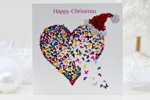 Christmas Kaleidoscope Butterfly Heart Card - cards & wrap