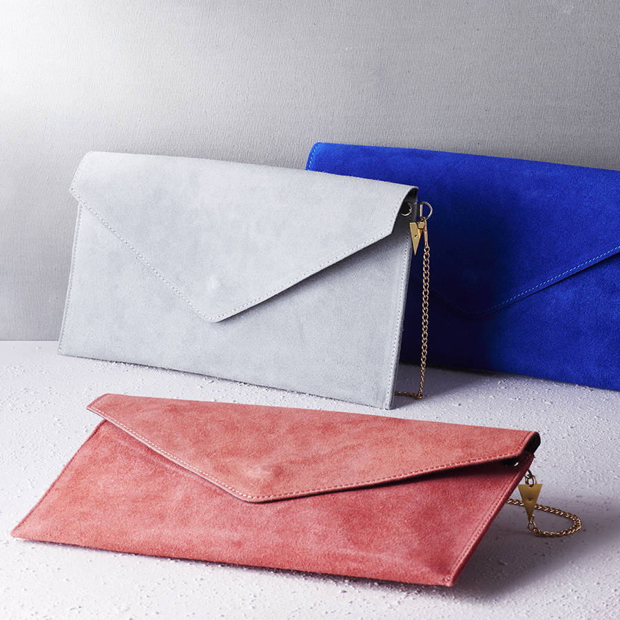 personalised suede envelope clutch bag by posh totty ...