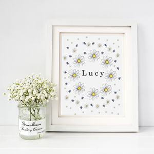 Personalised Daisy Fine Art Print