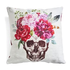 Floral Skull Cushion - bedroom
