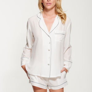 Womens Ivory Silk Crepe De Chine Pyjama Set - nightwear & pyjamas