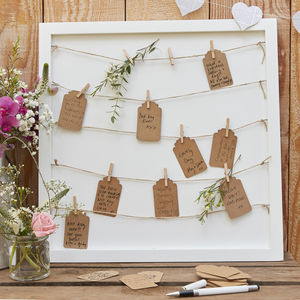 White Wooden Table Plan / Peg Display Board - wedding stationery