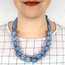 Chunky, Fabric Covered, Bead Necklace 'Blue Grass'