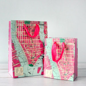 New York Vintage Map Inspired Gift Bags - cards & wrap