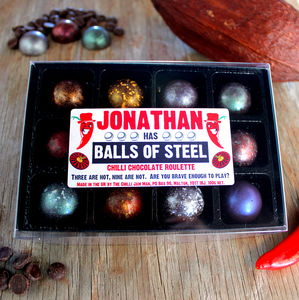 Personalised Balls Of Steel Chilli Roulette Set - chocolates & confectionery