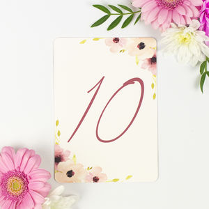 Pack Of 11 'Floral Chic' Wedding Table Numbers - table decorations