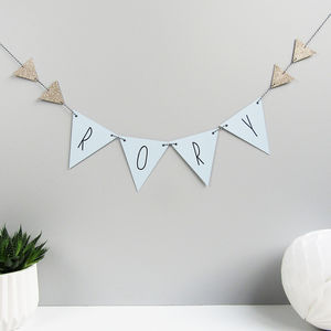Personalised Name Bunting With Glitter Triangles - decoration