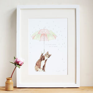 'Never Rains But It Paws' Print - drawings & illustrations