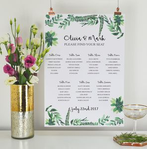 Botanical Wedding Table Seating Plan