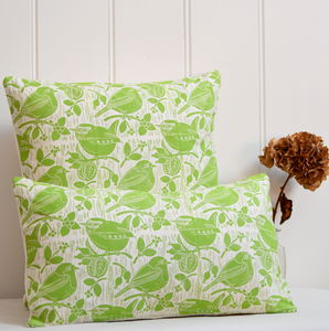 Robin And Wren Block Printed Cotton Cushions - decorative accessories