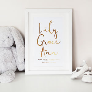 Personalised Baby Name Foil Print