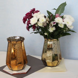 Metallic Polygon Lustre Vase - flowers, plants & vases