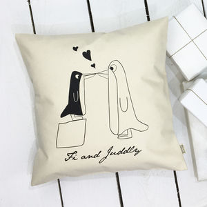 Kissing Penguins Cushion