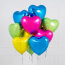 Inflated One Dozen Tropical Heart Foil Balloons