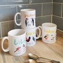 Set Of Four Ceramic Bird Pun Mugs