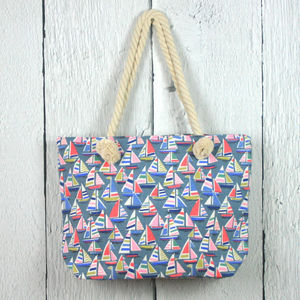 Sailboats Print Shopper Bag Set