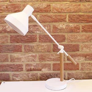 White And Wood Angled Desk Lamp - table lamps