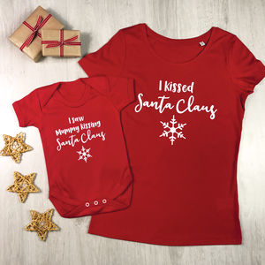'Kissing Santa Claus' Mother And Baby Christmas T Shirt