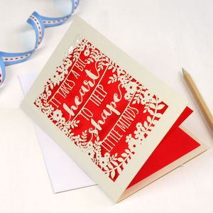 Papercut Teacher 'Big Heart' Card
