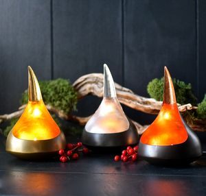 Set Of Three Wave Tealight Holders - dining room