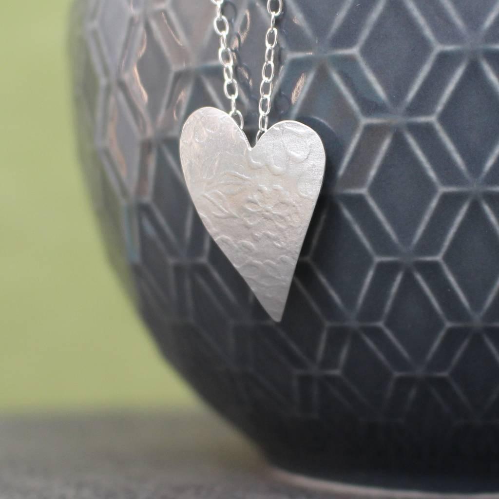 Sterling Silver Watercolour Blossom Heart Pendant