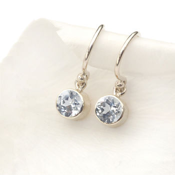 April Birthstone Earrings, White Topaz
