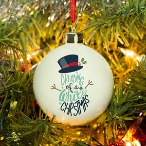 Bone China White Christmas Snowman Personalised Bauble - tree decorations