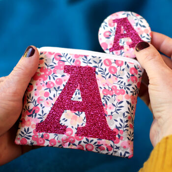 Liberty Glitter Initial Purse And Mirror Birthday Gift