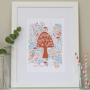 Personalised Children's Never Grow Up Print
