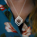 Double Square Geometric Necklace