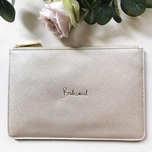 Bridesmaid Slogan Clutch Metallic White - bridesmaid accessories