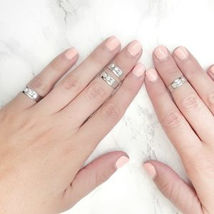 Triple Crystal Midi Ring Set Of Four - rings
