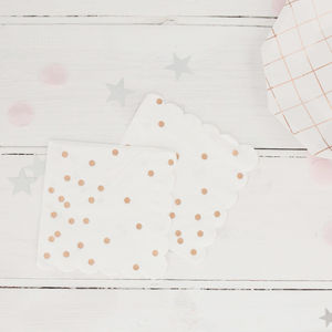 Rose Gold Spotty Foil Party Napkins - napkins & napkin holders