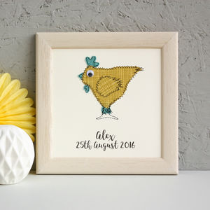 Personalised Chicken Embroidered Framed Artwork