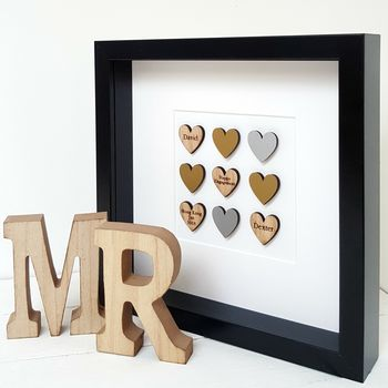 Personalised Oak Engagement Love Hearts Artwork