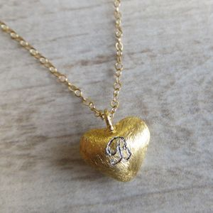 Gold Heart Initial Necklace - summer sale