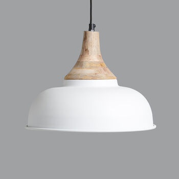 Matt White Iron And Mango Wood Pendant Light C
