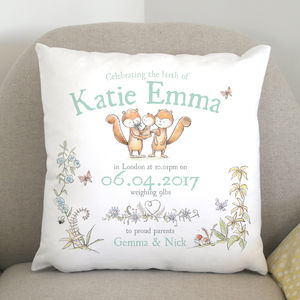Personalised New Baby Animal Cushion