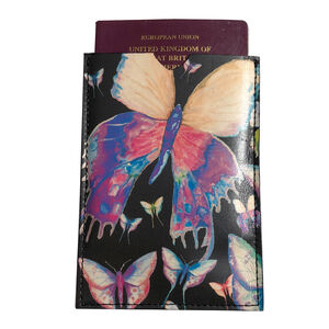 Purple Butterflies Leather Passport Sleeve