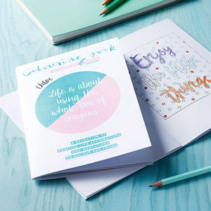 Personalised Colouring Book Of Positive Prints - diaries, stationery & books