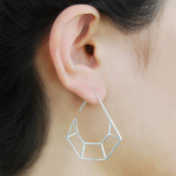 Diamond Geometric Sterling Silver Hook Earrings