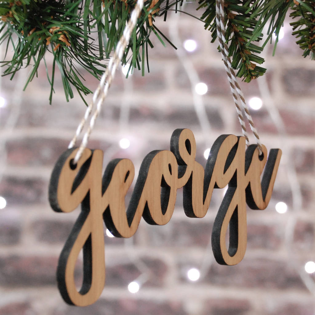 Personalised White Wood Christmas Tree Name Decoration