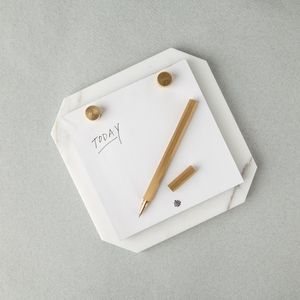 Desk Notepad Carrara Marble: White - stylish stationery ideas
