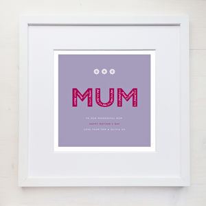 Personalised 'Mum' Print With Mount